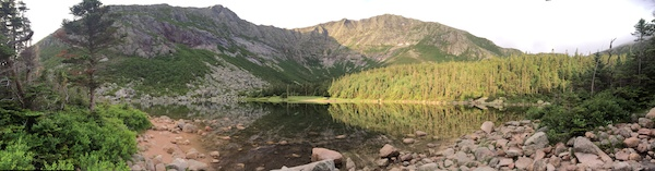Early morning panorama of Chimney Pond and Katahdin.