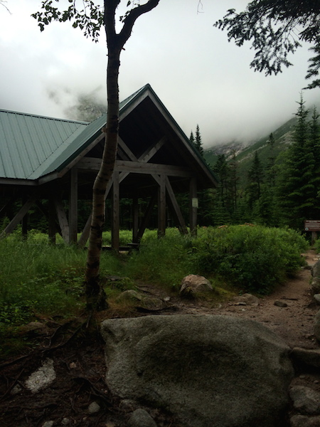 This is the pavilion right on the trail as you approach the Chimney Pond area.  I include this photo to show how low the clouds have dropped.  This photo was taken maybe an hour after the one above!