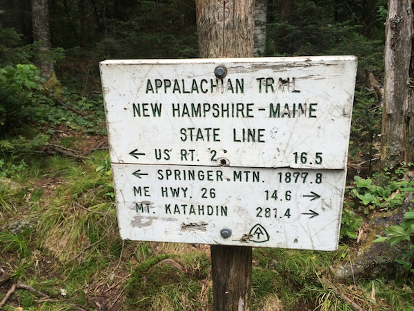Somewhere, during the day's hike from Gentian Pond Shelter to Full Goose Shelter, we passed the NH/ME state line as evidenced by a sign in the woods.