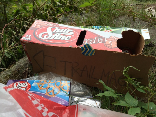 Trail magic!  It was really nice to find some sodas and snacks at the trailhead.  Thank you trail angels!