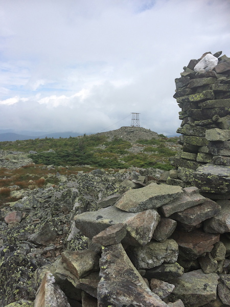 View to the tower on Mt. Abraham from further down the ridge.