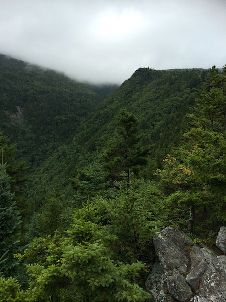 Looking into Little Tunnel Ravine from a viewpoint on the Benton Trail.  Still cloudy up high!