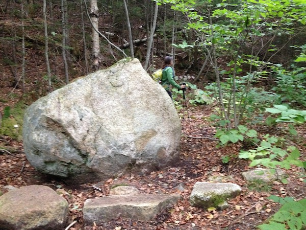 The Vose Spur bushwhack boulder in Carrigain Notch, along the trail.