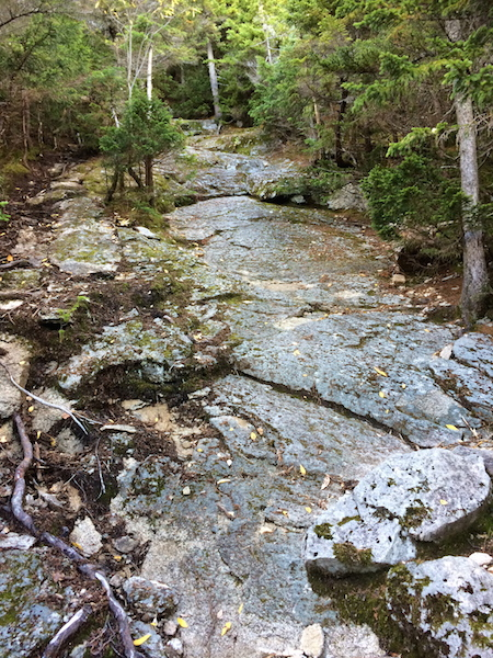 Steep slabs on the upper portion of Sabbaday Brook Trail.