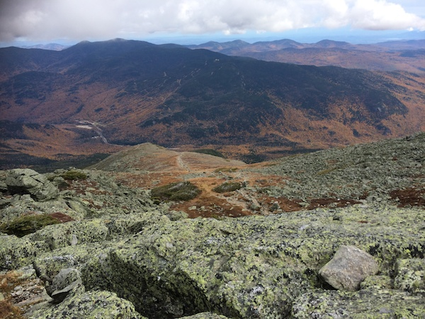 Looking down the Boott Spur trail as it descends back to Pinkham Notch.  The Wildcats are directly across from us.