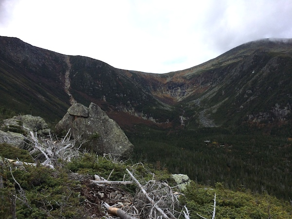 A nice view into Tuckerman's Ravine, with some of the buildings at Hermit Lake visible in the lower right.