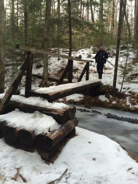 Ethan crossing the bridge over Jeffers Brook on the Town Line Trail.