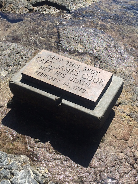 The plaque near the actual spot where Cook was killed, easily found at low tide.