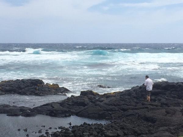 Very high surf at Punalu'u Beach.