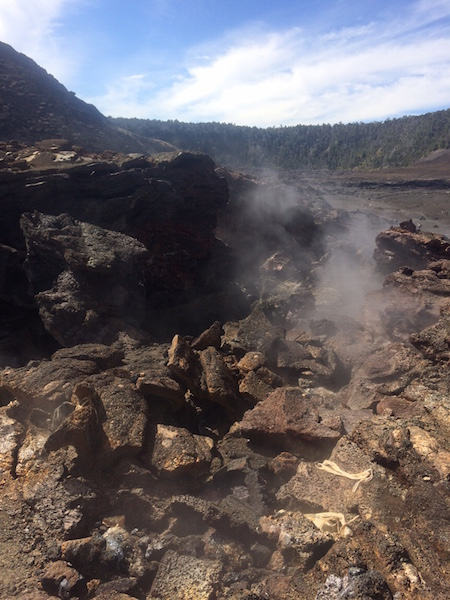 Steam vents in the crater.  Rain water seeps down to heated rocks and is turned into steam.