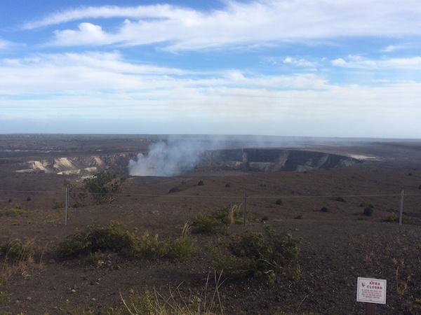 The Halema'uma'u crater of the Kilauea volcano as seen from the Jagger Museum.