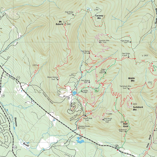 Part of the Ossippe map with our route to Mt. Roberts via the Mt. Roberts Trail.  The full map can be found here:  http://www.franklinsites.com/hikephotos/files/nhtrailbanditossipees.php