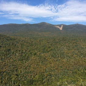 View from Owl's Head slide out to the Franconia Range.  The leaves trees are just on the verge of starting to turn.