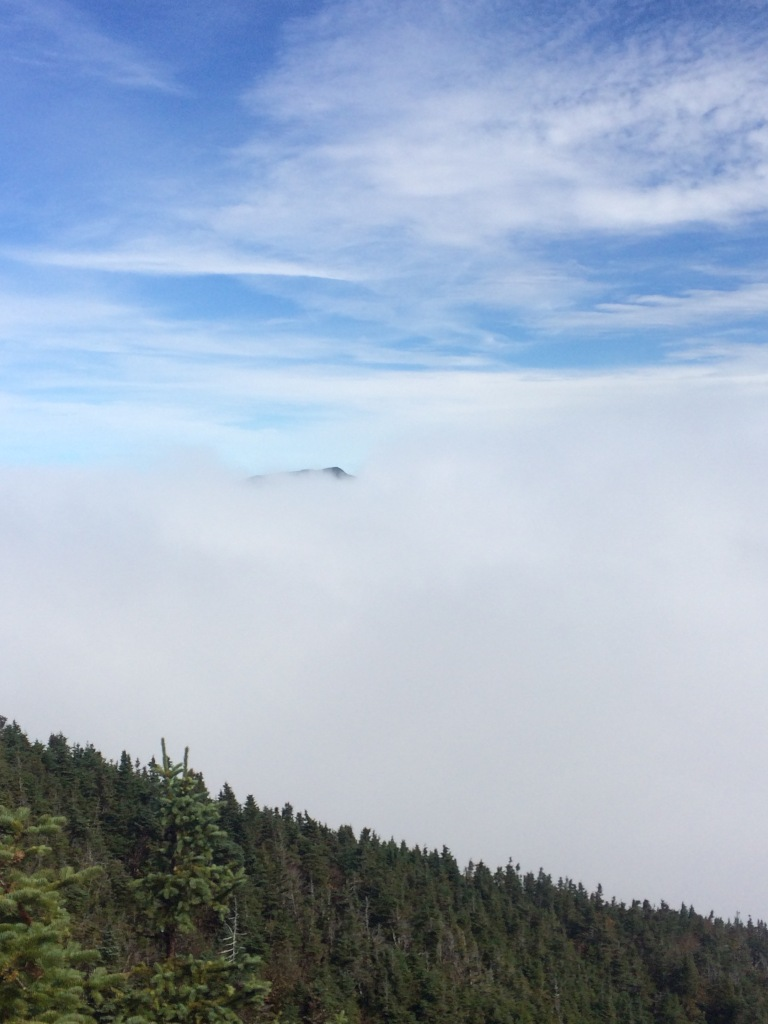 Carter Dome is just barely above the clouds in Carter Notch.