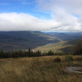 A peek under the clouds to Pinkham Notch and the towns to the north.