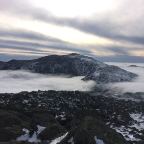 Mt. Washington from the summit of Jefferson.  The clouds have now surrounded the entire range.