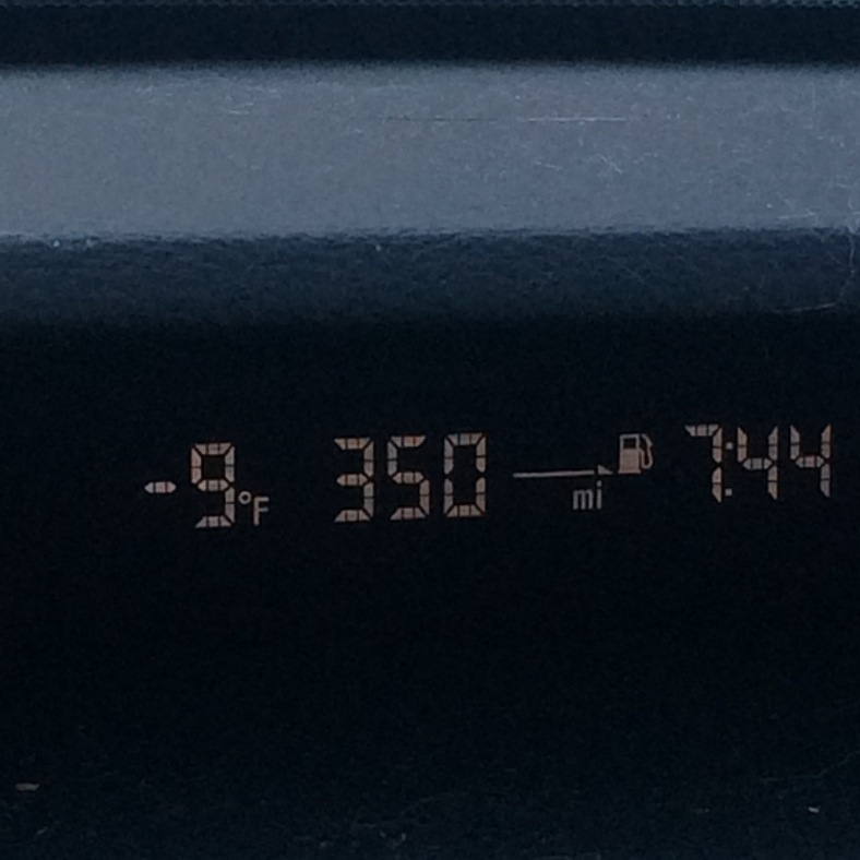 Even the car thought it was cold at almost 8:00a.